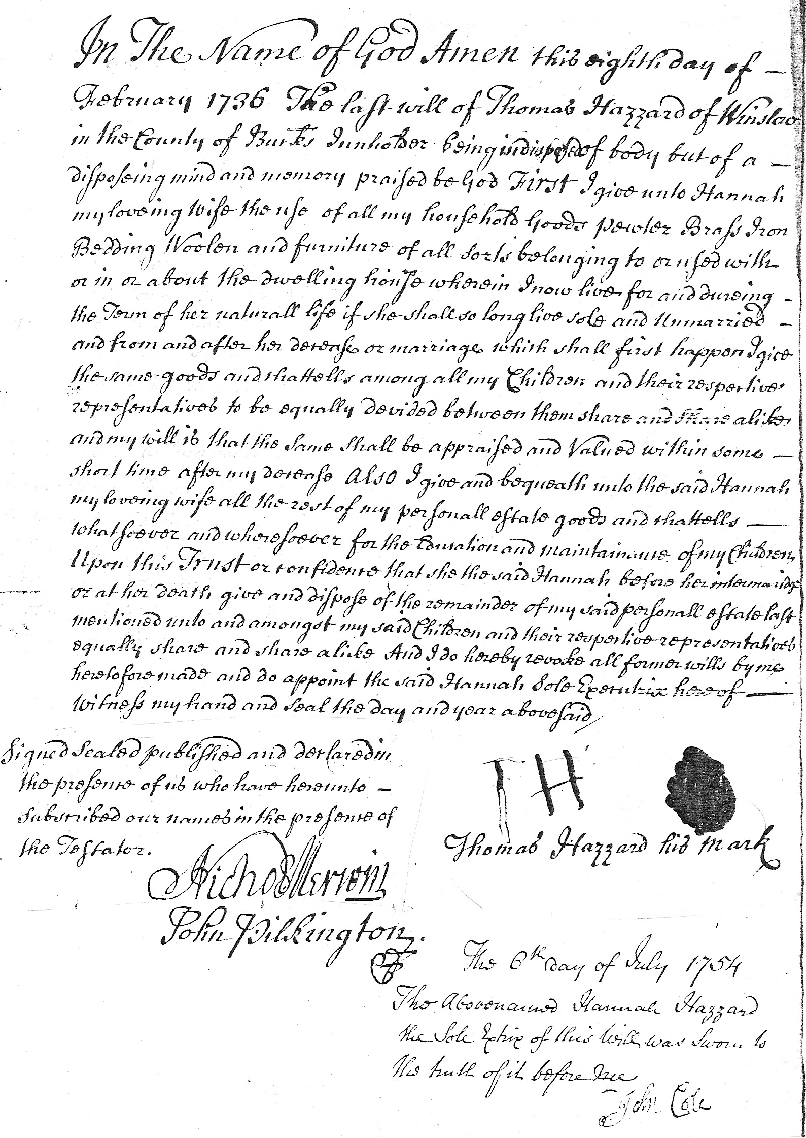 Will of Thomas Hazzard