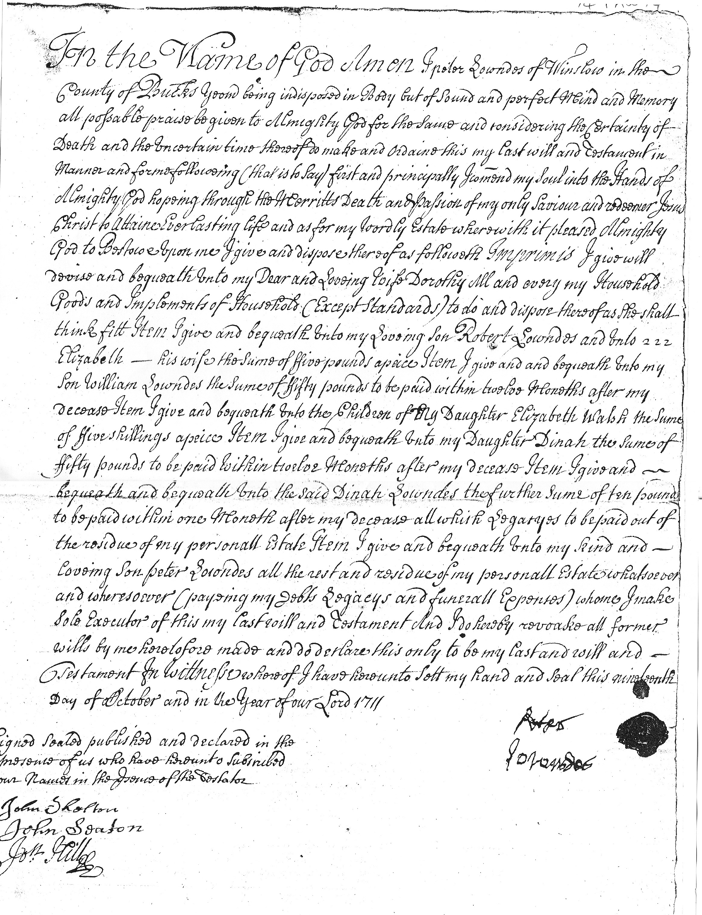 Will of Peter Lowndes