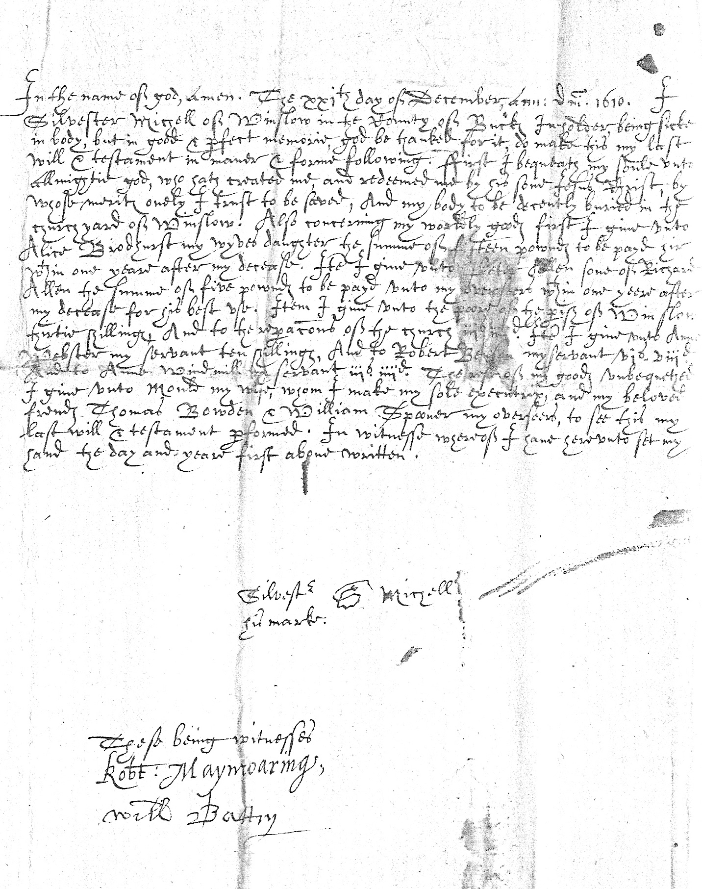 Will of Silvester Michell