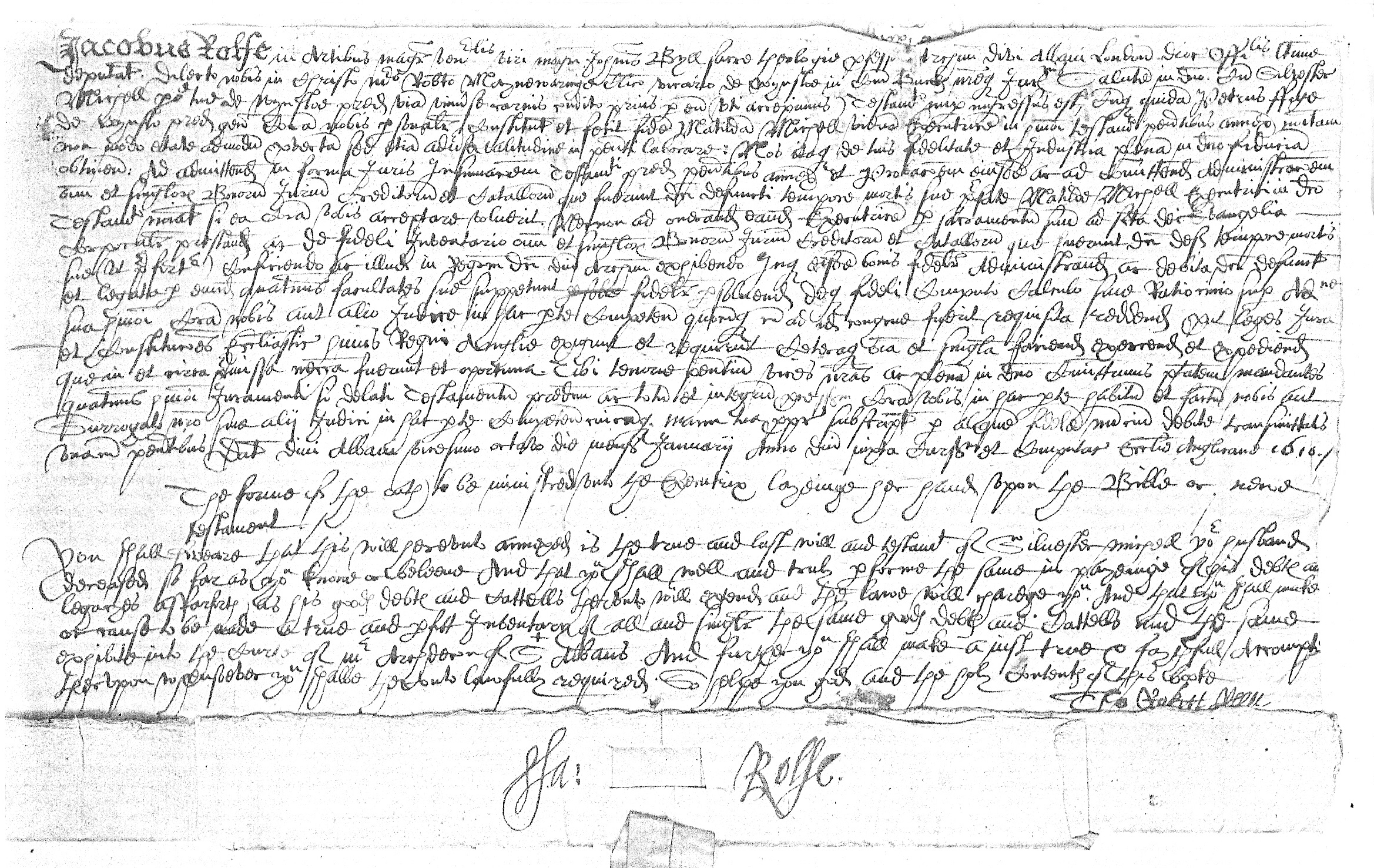 Letter about Silvester Michell's will
