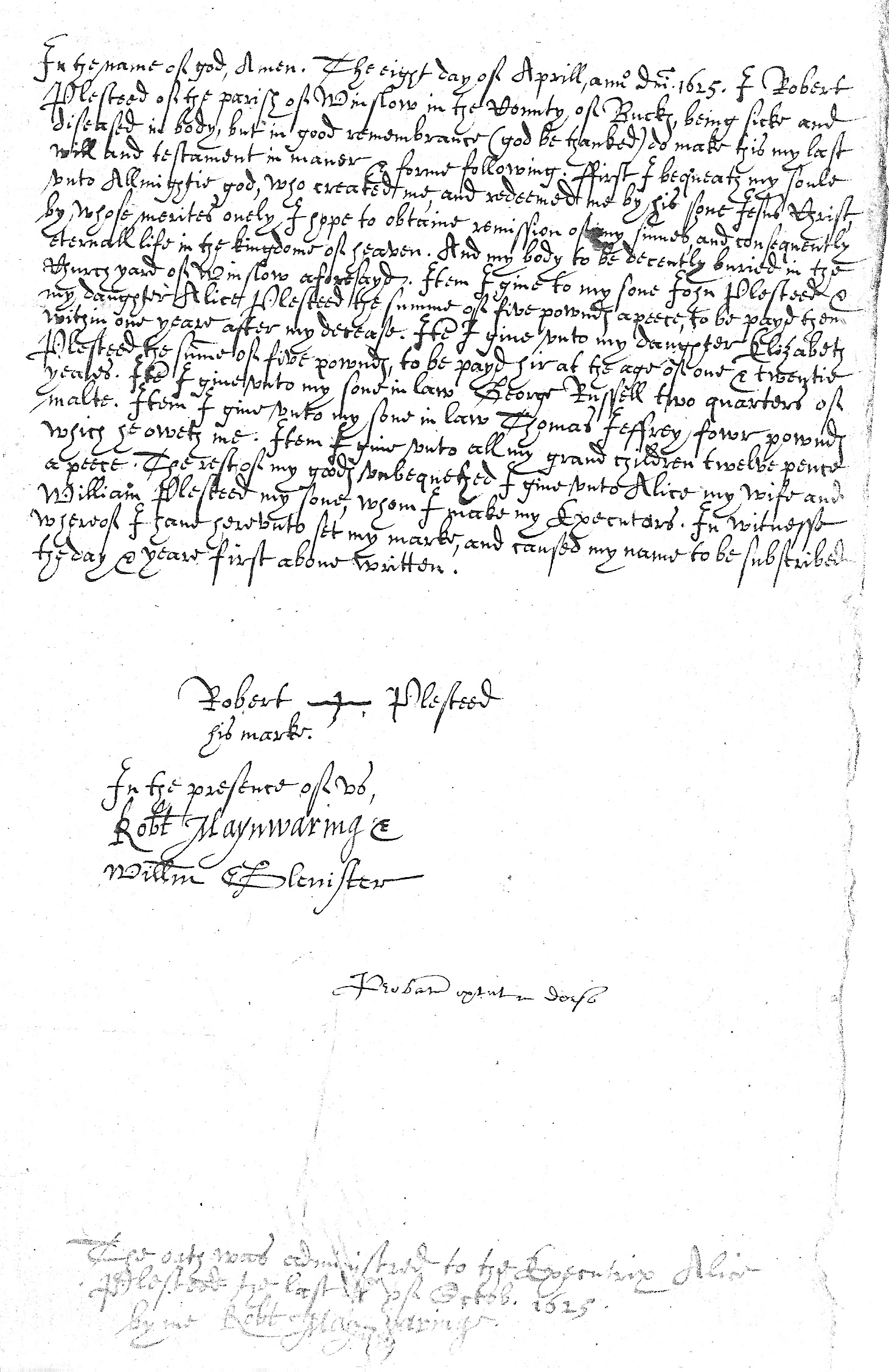 Will of Robert Plesteed