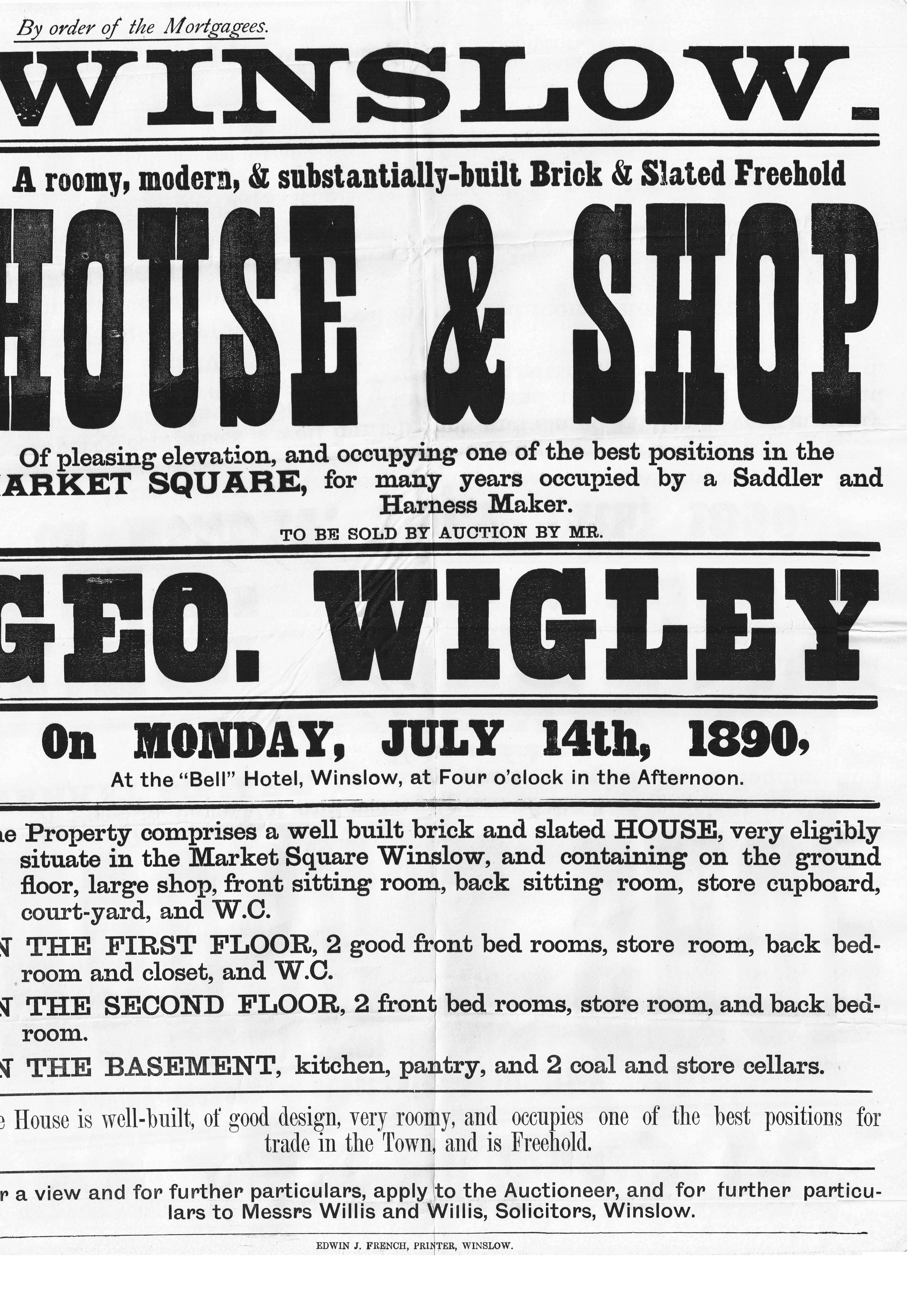 Sale poster, 1890