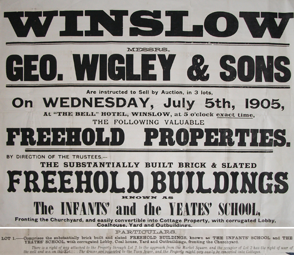 Poster advertising sale of old schools