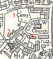 Map showing school sites around church