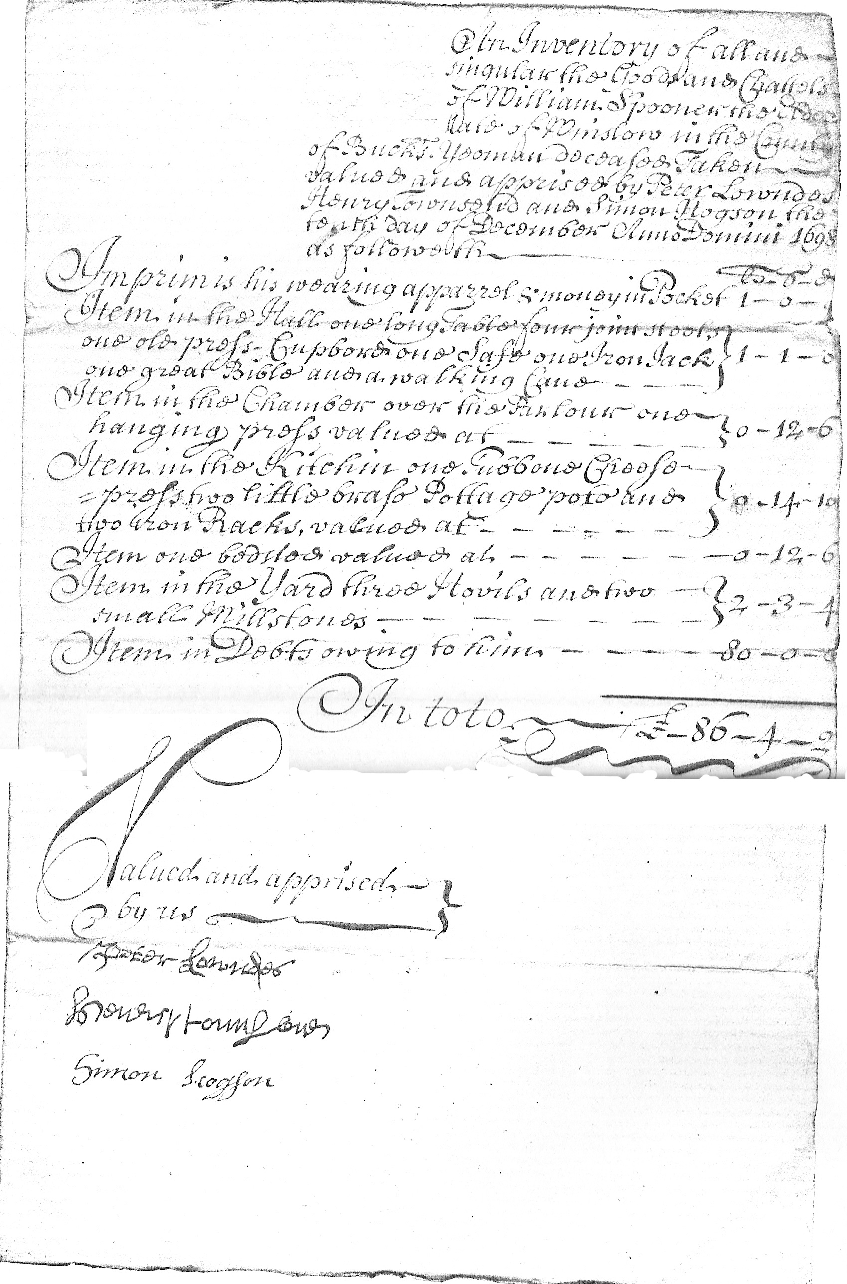 Inventory of William Spooner