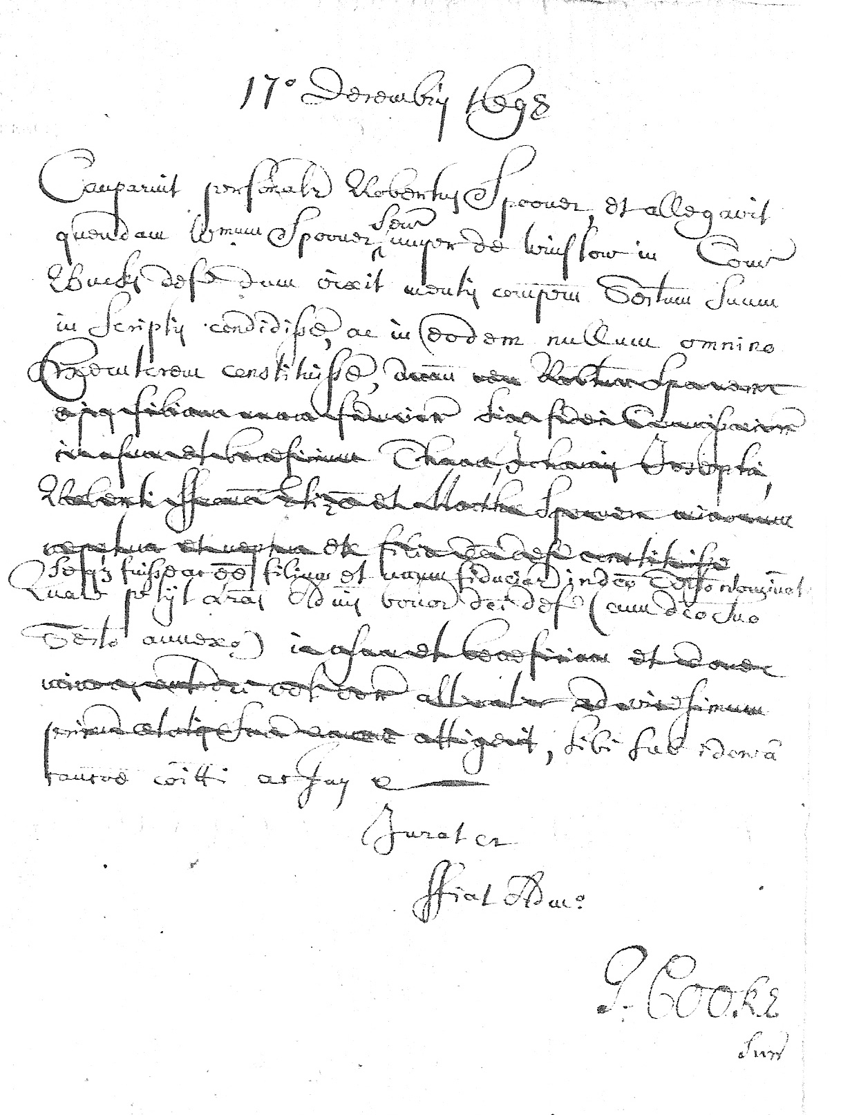 Declaration of Coventry Spooner
