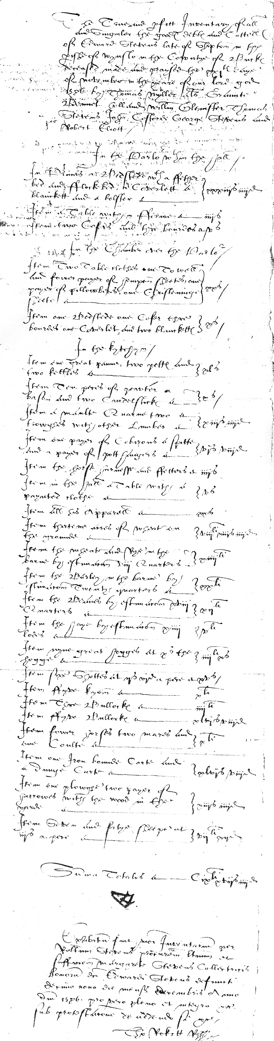 Inventory of Edward Stevens p1