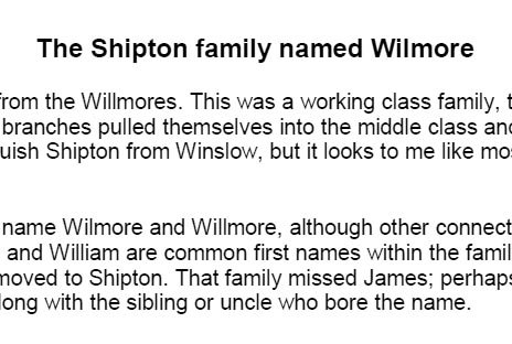 Document about the Wilmores