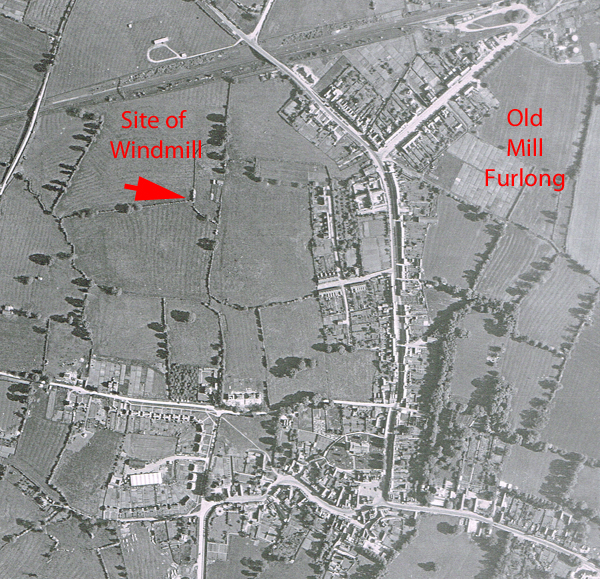 Site of windmill marked on aerial view